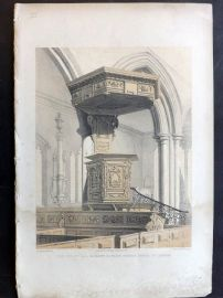 Charles Richardson 1840's Print. The Pulpit, All Hallows Barking Church, London